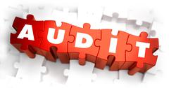 Audit - White Word on Red Puzzles Stock Illustration