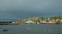 Tugboat and Clouds, Fraser River Stock Footage