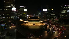 Seoul Namdaemun Night View Stock Footage