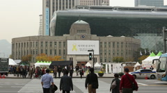 Seoul City Hall & Library Stock Footage