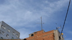 Sky Over Urban Mobile Tower Stock Footage