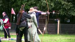 Knights of Longshank archery reenactment at Samlesbury Hall - stock footage