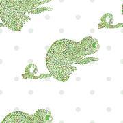 Chameleon seamless vector illustration cartoon zoo set - stock illustration