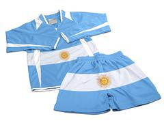 Flag from Argentina on nylon soccer sportswear clothes - stock photo