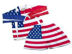 Flag from USA on nylon soccer sportswear clothes Stock Photos