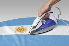Stock Photo of smooth out the wrinkles of Flag-Argentina