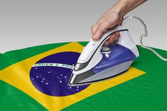 Stock Photo of smooth out the wrinkles of Flag-Brazil