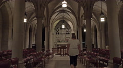Stock Video Footage of Washington DC National Cathedral small chapel woman 4K 020