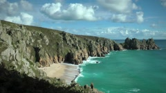Porthcurno, Cornwall, beach at a sunny day Stock Footage