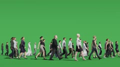 People walk green screen Stock Footage
