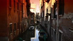 Round bridge on venetian canal -Venice Italy Stock Footage
