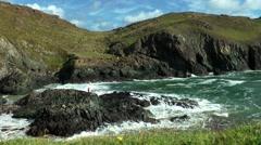 Lizard, Cornwall, wild coast and sea Stock Footage