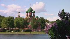 RUSSIA. MOSCOW. MAY 2009: Ostankino. Trinity church in Ostankino Stock Footage