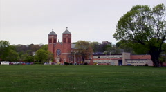 Church from across the park Stock Footage
