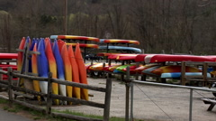 Kayaks for sale Stock Footage