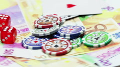 Money, casino chips, cards and dice endless loop Arkistovideo