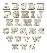 English alphabet gold vector illustration - stock illustration
