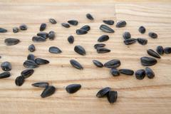 sunflower seeds isolated - stock photo