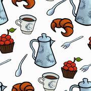 Stock Illustration of English tea ceremony vector pattern illustration