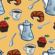 English tea ceremony vector pattern illustration - stock illustration