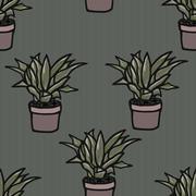 Flower in a pot seamless pattern illustration - stock illustration