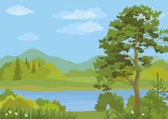 Landscape with Trees and Mountain Lake - stock illustration