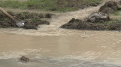 Working in Flooding area - Close up Stock Footage