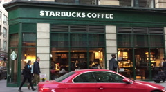 Starbucks Coffee in NYC Stock Footage