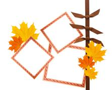 Scrapbook composition with design elements and photo frames plus autumn leave Stock Photos