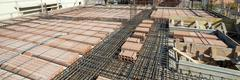 Reinforce iron cage net for built building floor. - stock photo