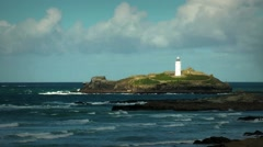 Godrevy lighthouse, Cornwall, England Stock Footage