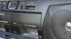 Ejecting the audio cassette from the tape recorder Stock Footage