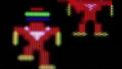 "Classic Video Game -Macro Super ECU ""Robotron""with evil robots Stock Footage"