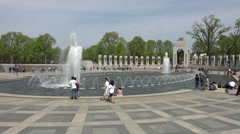Washington DC National World War II Memorial fountain Atlantic 4K 033 Stock Footage