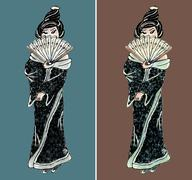 Hand drawn geisha illustration set - stock illustration