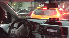 Taxi stucked in jam Stock Footage
