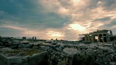 Acropolis parthenon site timelapse pillars overcast sky sunset 30p - stock footage