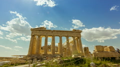 Acropolis parthenon site timelapse pillars bright sunny sky Stock Footage