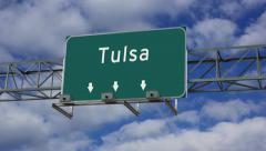 4K Animated highway road sign of Tulsa Stock Footage