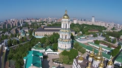 Aerial view of Kiev-Pechersk Lavra at spring Stock Footage