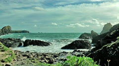 Lizard, Cornwall view onto rough sea at a windy day Stock Footage