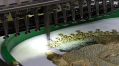 Embroidery machine is used to create patterns on textiles Stock Footage