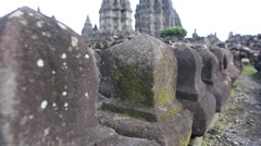 Prambanan temple ruins on the island of Java Stock Footage