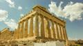 Acropolis parthenon timelapse, pillars bright sunny sky Footage