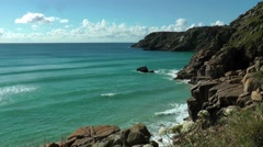 Cornish Coast at Porthcurno, Cornwall Stock Footage