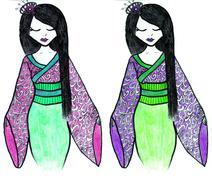 Hand drawn geisha illustration - stock illustration