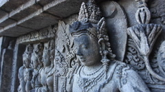 Bas-relief of the temple of the Middle Ages Stock Footage