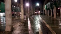 4K night POV walk at empty market spot near Rialto bridge Stock Footage