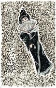 Hand drawn geisha illustration back set red Stock Illustration