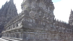 Facade of the temple Prambanan on the island of Java Stock Footage